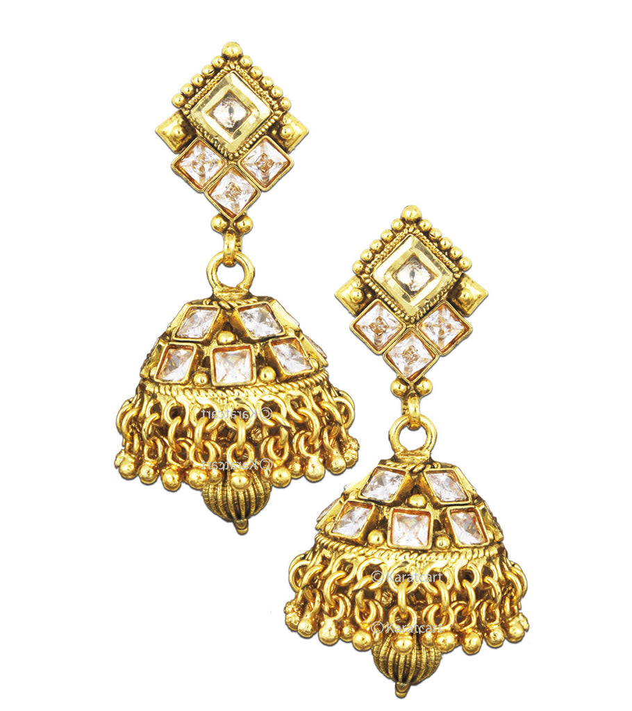 Karatcart 24K Goldplated Traditional Crystal Jhumki Earrings Set