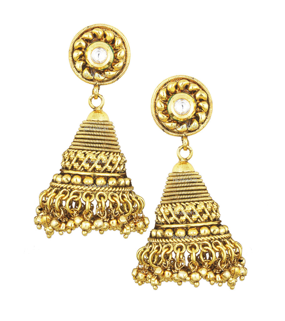 Karatcart 24K Goldplated Traditional Jhumki Earrings Set