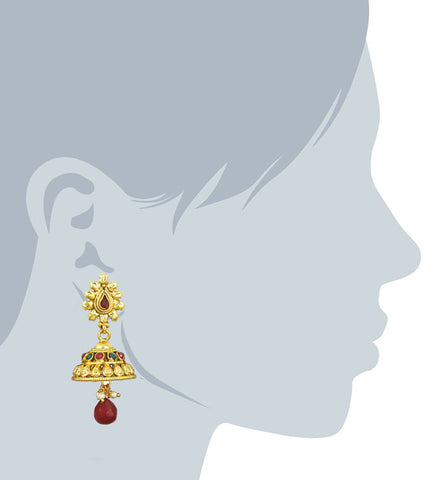 Karatcart 24K Goldplated Traditional Jhumki Earrings Set For Women