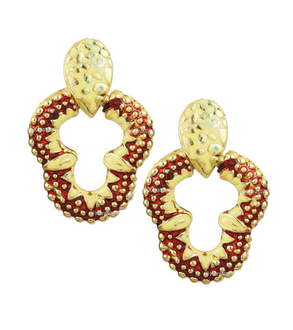 Karatcart 24K GoldPlated Meenakari Strawberry Shaped Earring Set