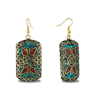 Stone Work Turquoise Fish Hook Earrings Set