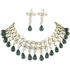 Karatcart Aanvi Green Brass Choker Necklace For Women