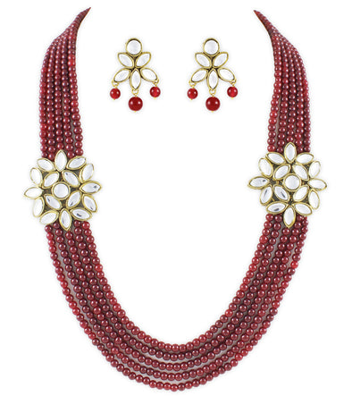 Red Kundan Rani Haar Necklace Set