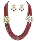 Red 5 Line Kundan Necklace