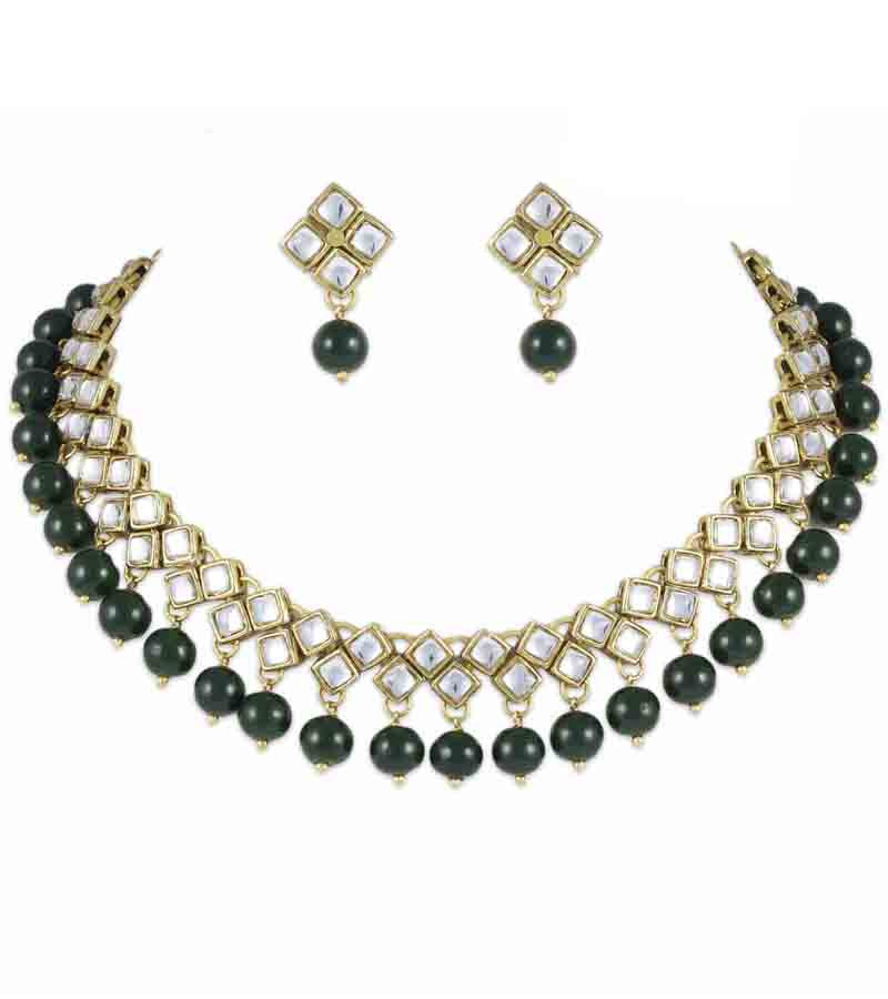 Kundan And Green Beads Set