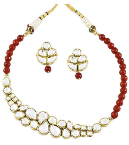 Hybrid Red Kundan Set by Karatcart