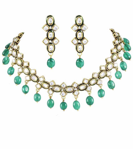 Kundan Necklace with Green Tumble Drops and Earrings
