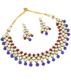 Red and Blue Drops Necklace Set