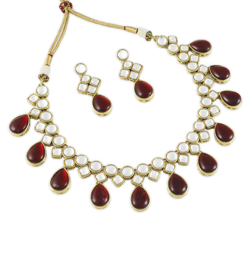 Red Kundan Droplets Necklace