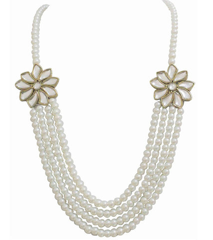 Jasmine Kundan and Pearl Long Necklace by Karatcart