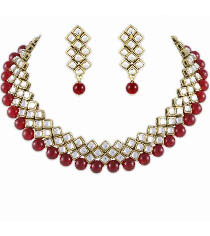 Kundan And Red Beads Set