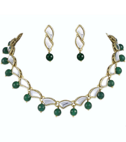 Green Onyx Kundan Necklace Set