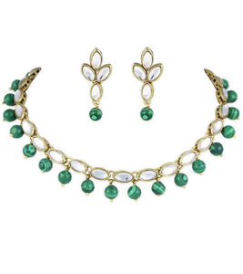 Malachite Kundan Necklace Set