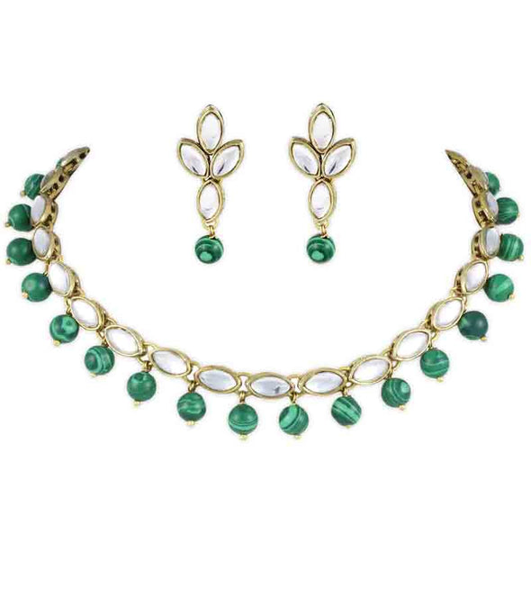 Malachite Kundan Choker Necklace Set