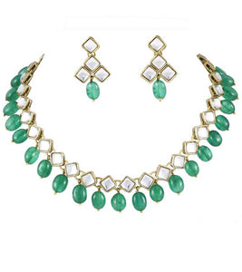 Square Kundan Emerald Tumble Set