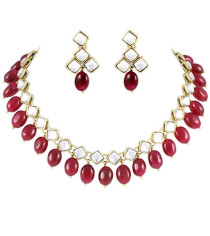 Square Kundan Ruby Tumble Set