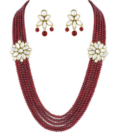 Traditional Rose 5 Line Kundan Rani Haar Necklace Set