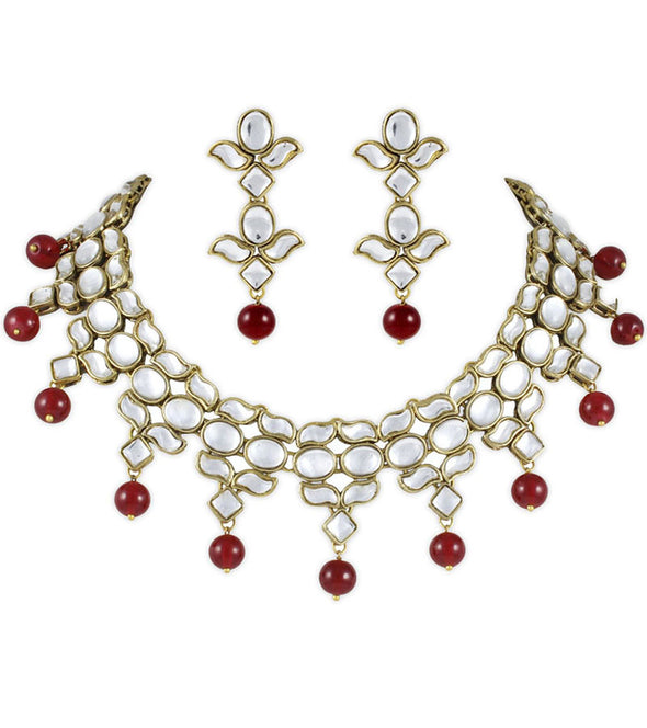 Red Eros Kundan Necklace Set