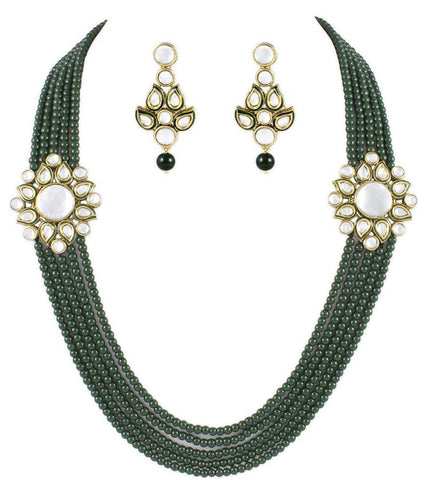 Meera Green 5 Line Kundan Necklace Set