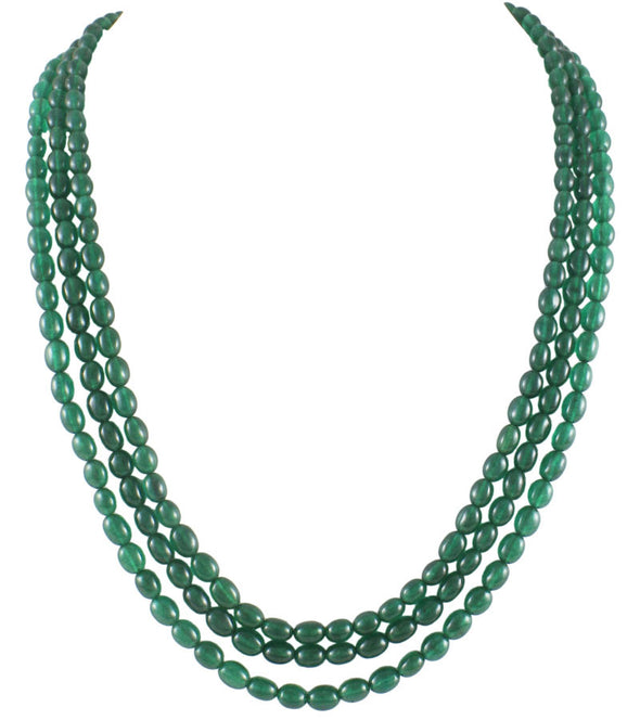 Three Emerald Tumble Multi-Strand Necklace Set
