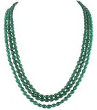 Three Emerald Tumble Strings Necklace Set