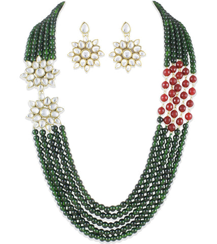 Green beads and red onyx pigtail Kundan Traditional Necklace set by Karatcart