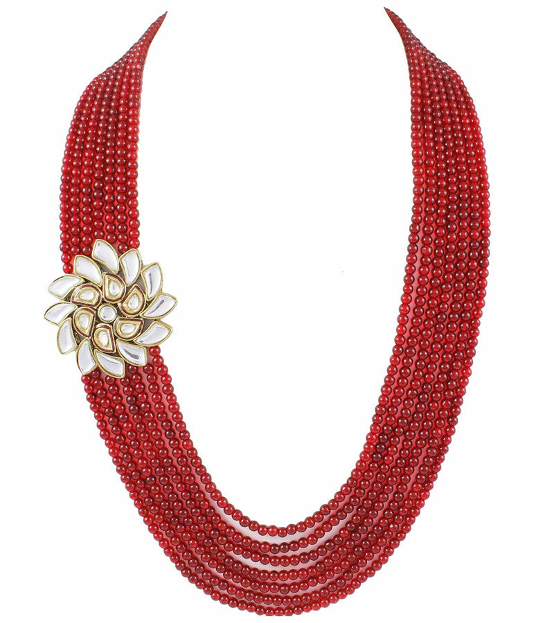 Designer Kundan Brooch with red colour meena and multi layer beads necklace set