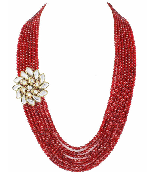 Mia Designer Kundan Brooch with red colour meena and multi layer beads necklace set