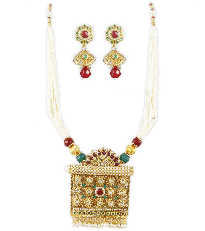 Karatcart 22K Goldplated Traditional Necklace Sets For Women