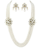 Karatcart White 5 line Traditional Kundan Jewellery Set For Women