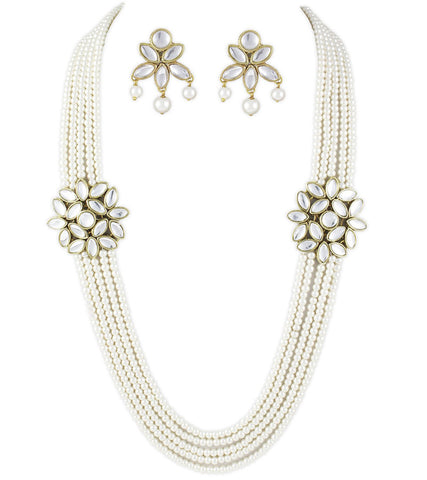 Karatcart White 5 line Traditional Kundan Jewellery Set