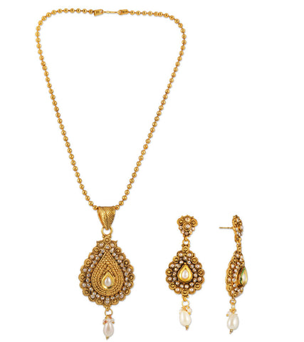 22K Goldplated Traditional Necklace Set For Women