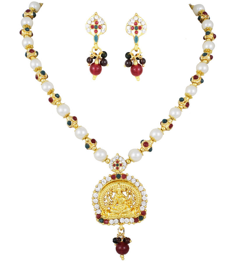 Karatcart 22K Goldplated Red And Blue Traditional Necklace