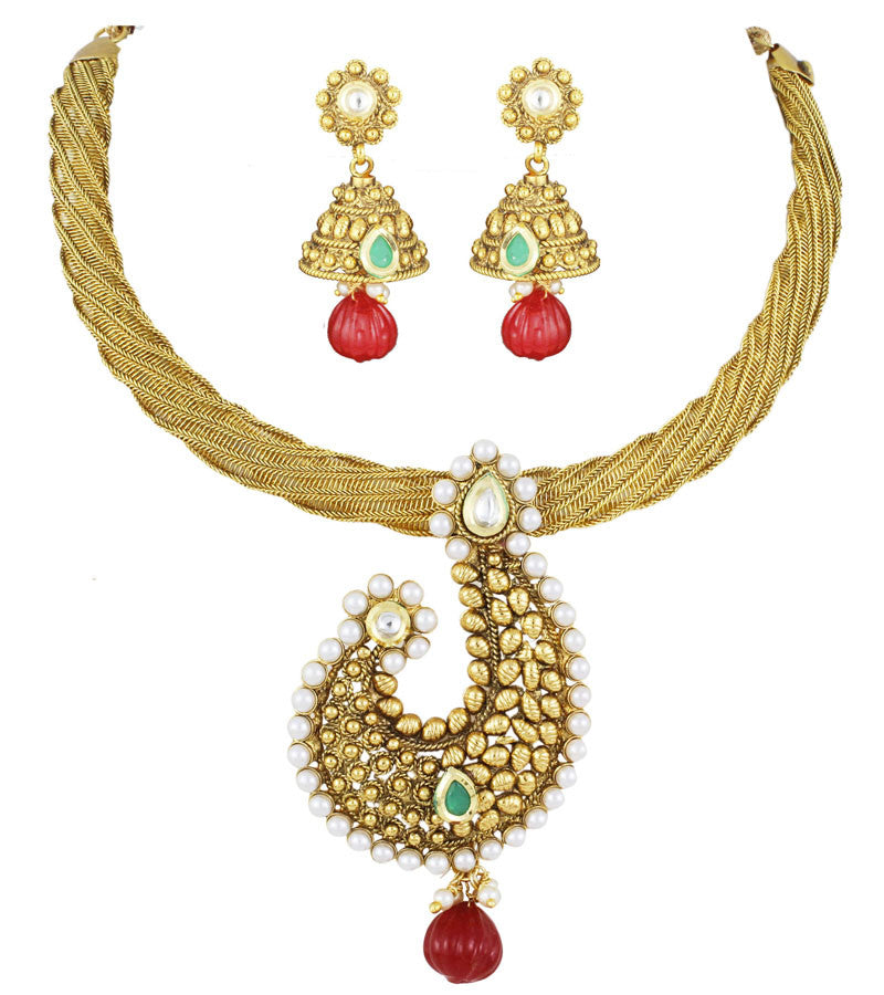 22K Goldplated Red and Green Traditional Jewellery Set