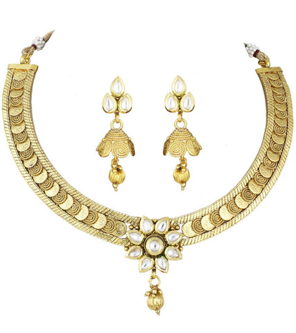 Coin Temple Kundan Necklace With Jhumki Earrings
