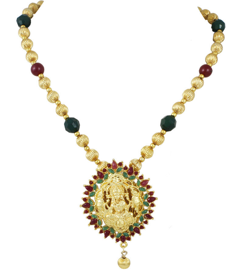 Karatcart 22K Goldplated Red And Green Traditional Necklace