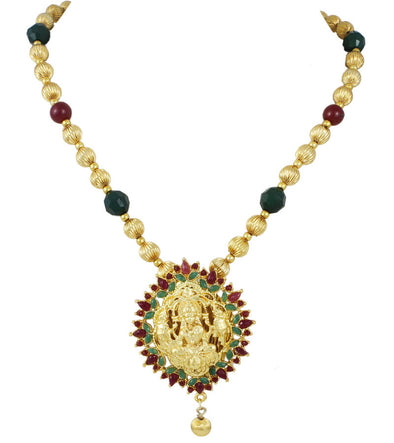 Karatcart 22K Goldplated Red And Green Traditional Necklace by Karatcart