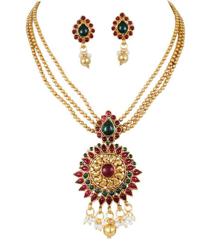 Karatcart 24K Goldplated Multicolor Traditional Jewellery Set For Women