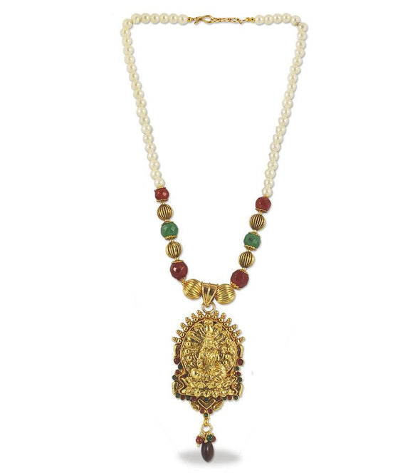 Traditional South Indian Pearl with Red and Green Stone String Pendant