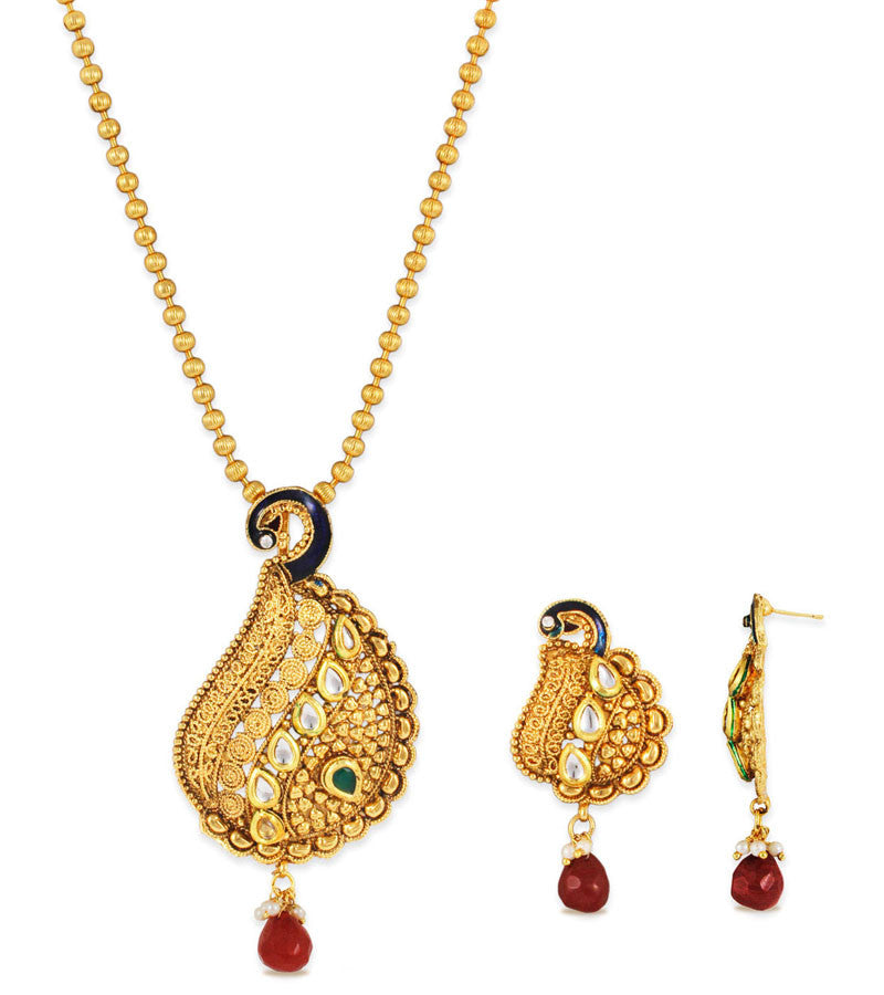 22K Goldplated Traditional Peacock Jewellery Set