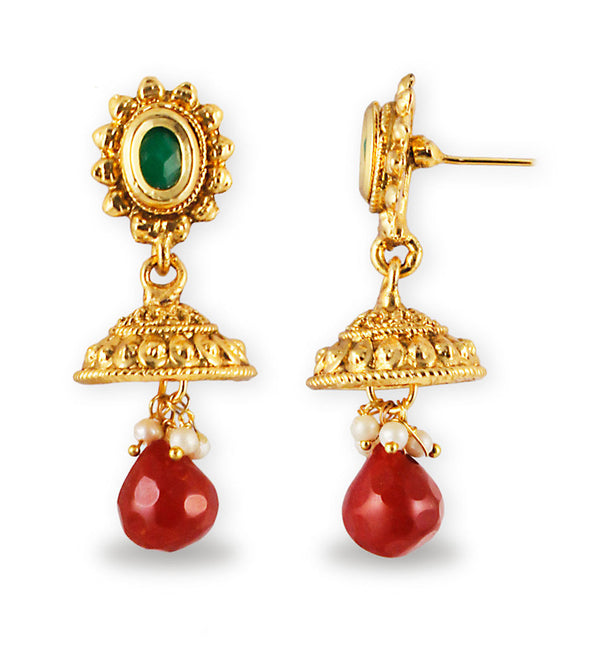 22K Goldplated Traditional Red Stone Jewellery Set