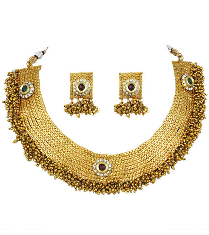Sunhera Saga Goldplated Traditional Choker Necklace Set