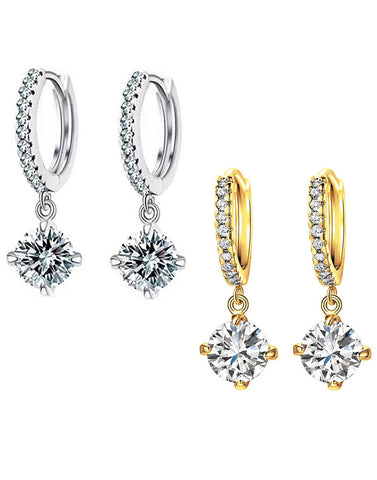 karatcart combo of Trendy Platinum And Gold Plated Elegant Austrian Crystal Drop Earrings