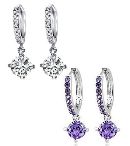 Combo of Trendy Platinum Plated Elegant Austrian Crystal Drop Earrings For Women