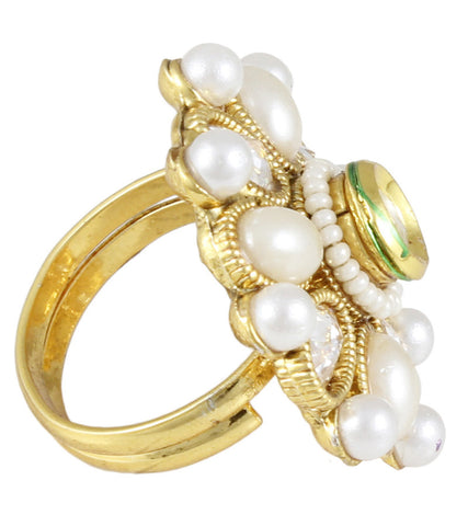 22K Goldplated Pearl Adjustable Ring