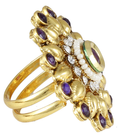 22k Goldplated Purple Adjustable Ring