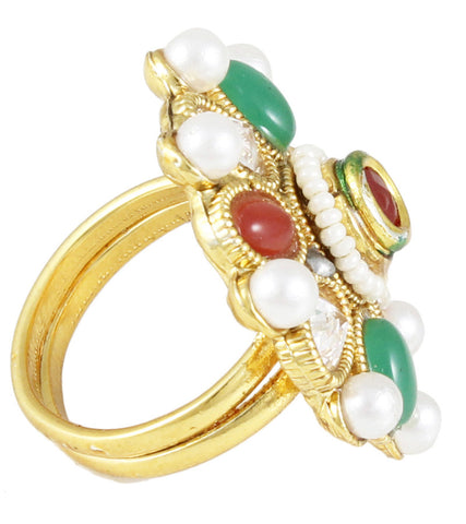 22K Goldplated Red and Green Adjustable Ring