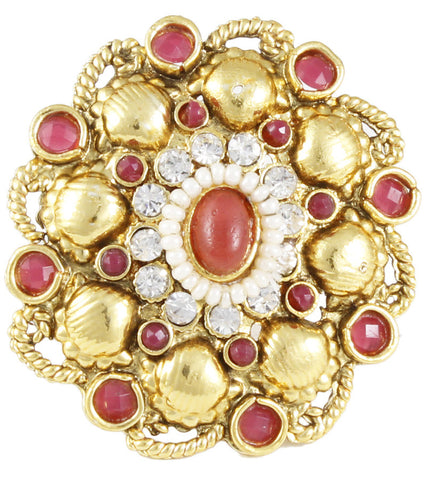 22K Goldplated Red Irregular Motif Adjustable Ring