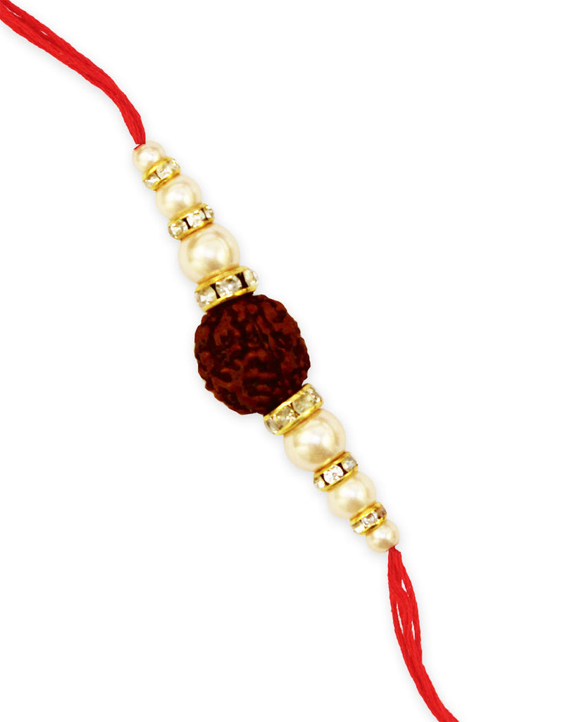 GoldPlated Rudraksh Rakhi For Brother.