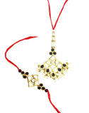 GoldPlated Kundan Rakhi For Brother and Bhabhi